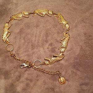 Ann Klein leopard chain belt